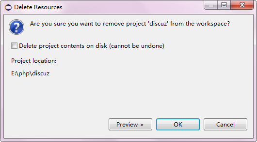 Eclipse删除项目