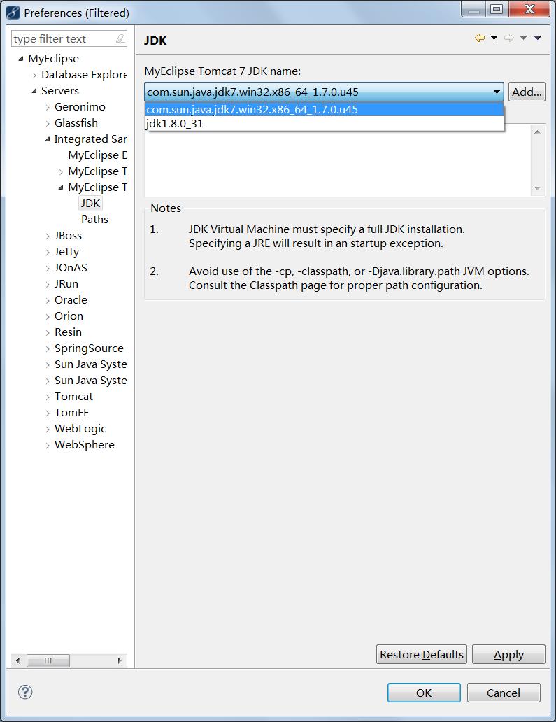 Eclipse的Tomcat换JDK